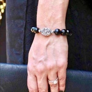 Black Onyx Druzy Lava Diffuser Bracelet